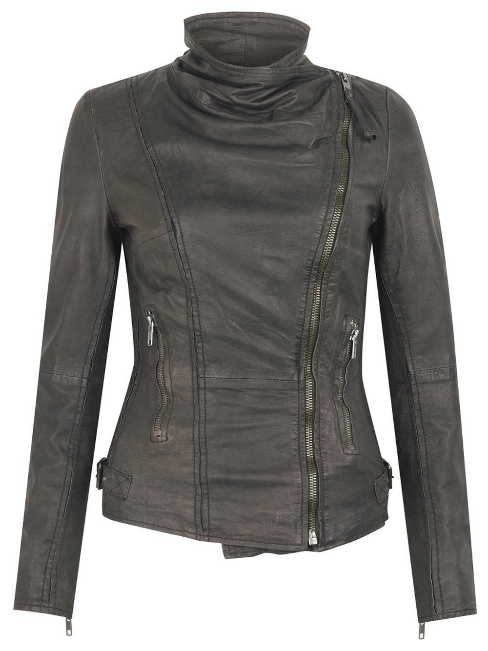 Juana Leather Biker Jacket in Storm Grey