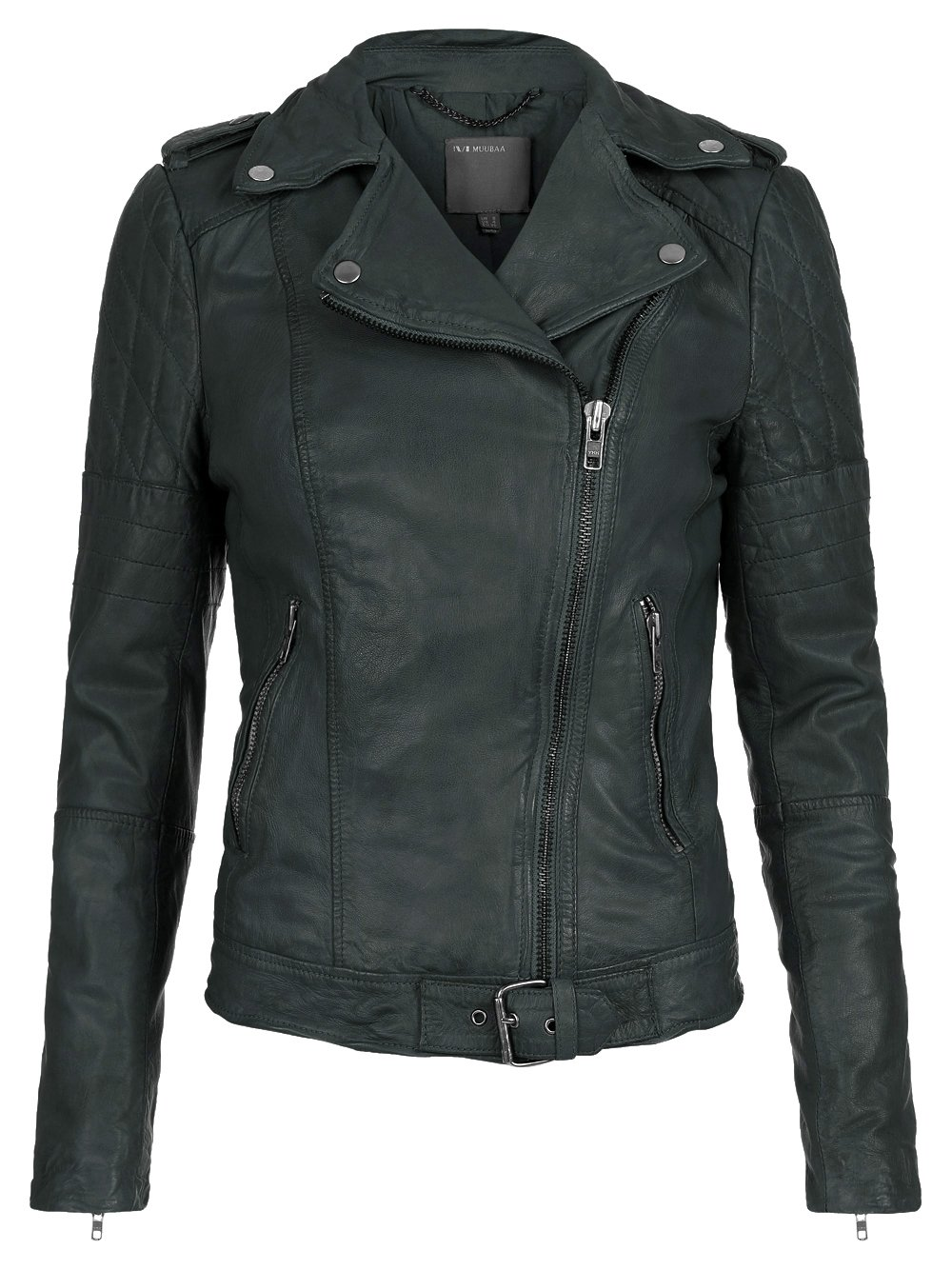 Green leather biker jacket