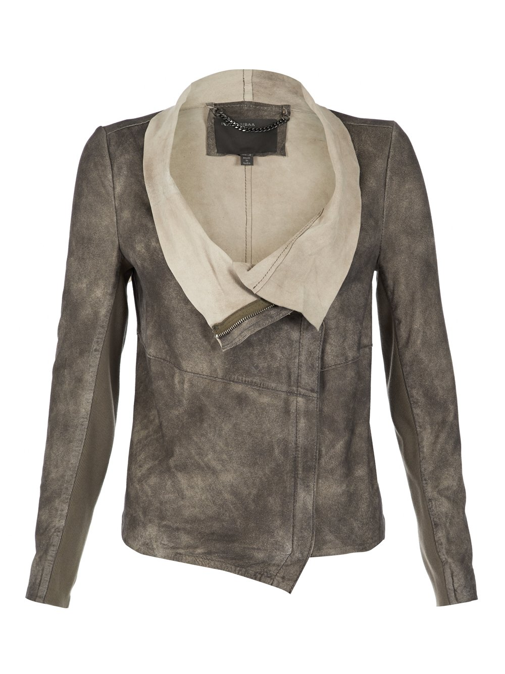 Leather jacket beige