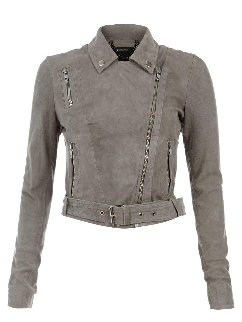 Orinoco Grey Cropped Suede Jacket