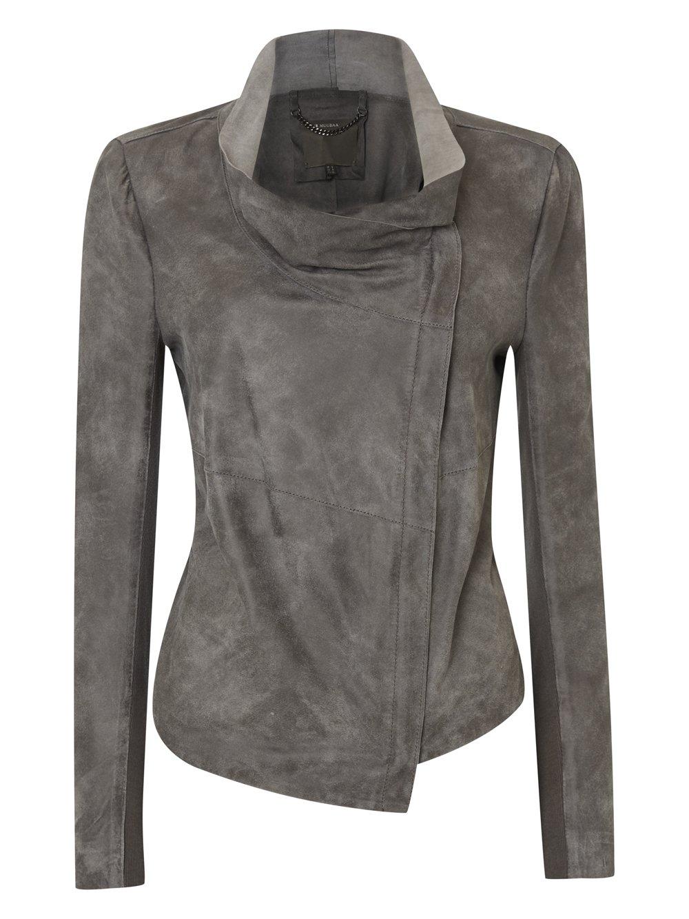 Geneva Grey Suede Drape Jacket