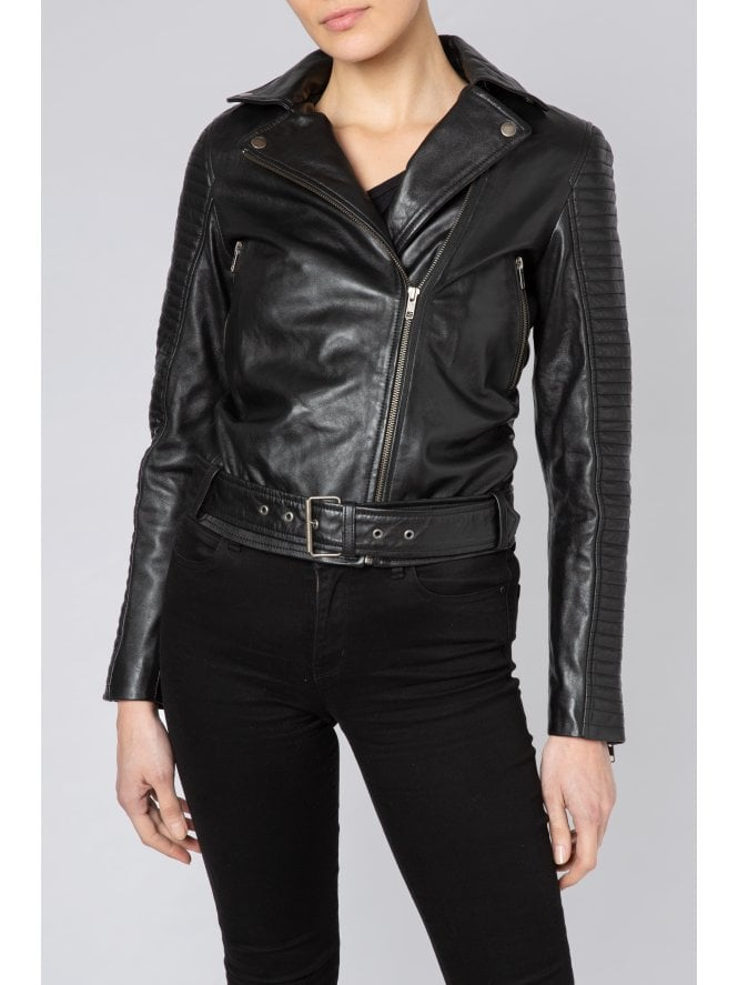 Quilted Sleeve Belted Biker