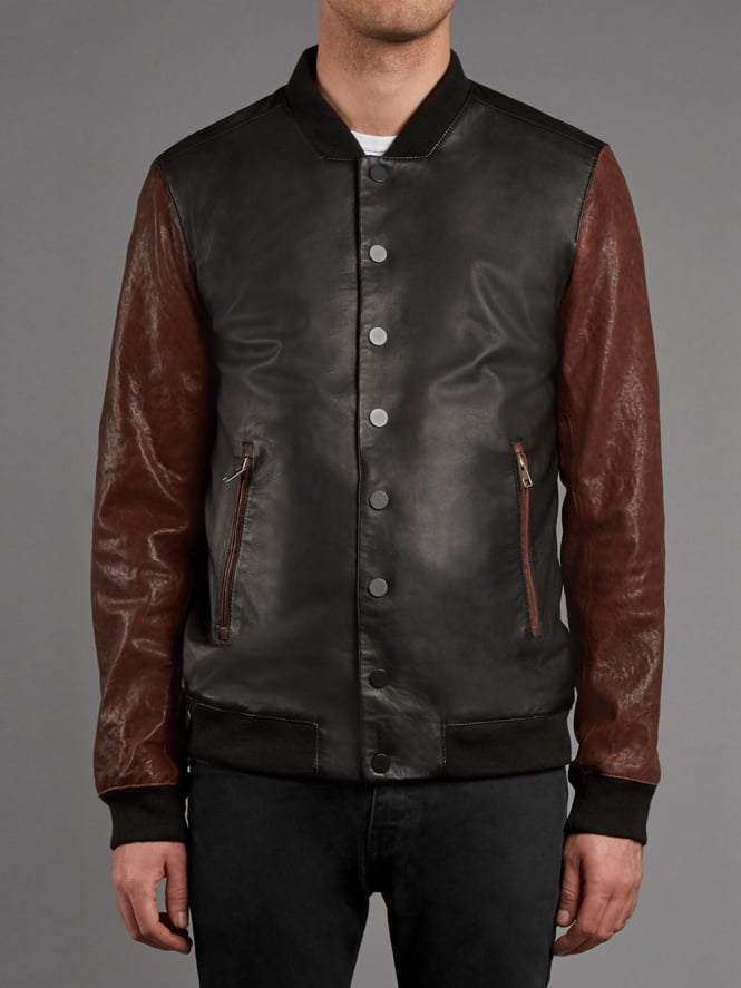 Range Leather Bomber Jacket in Black and Red