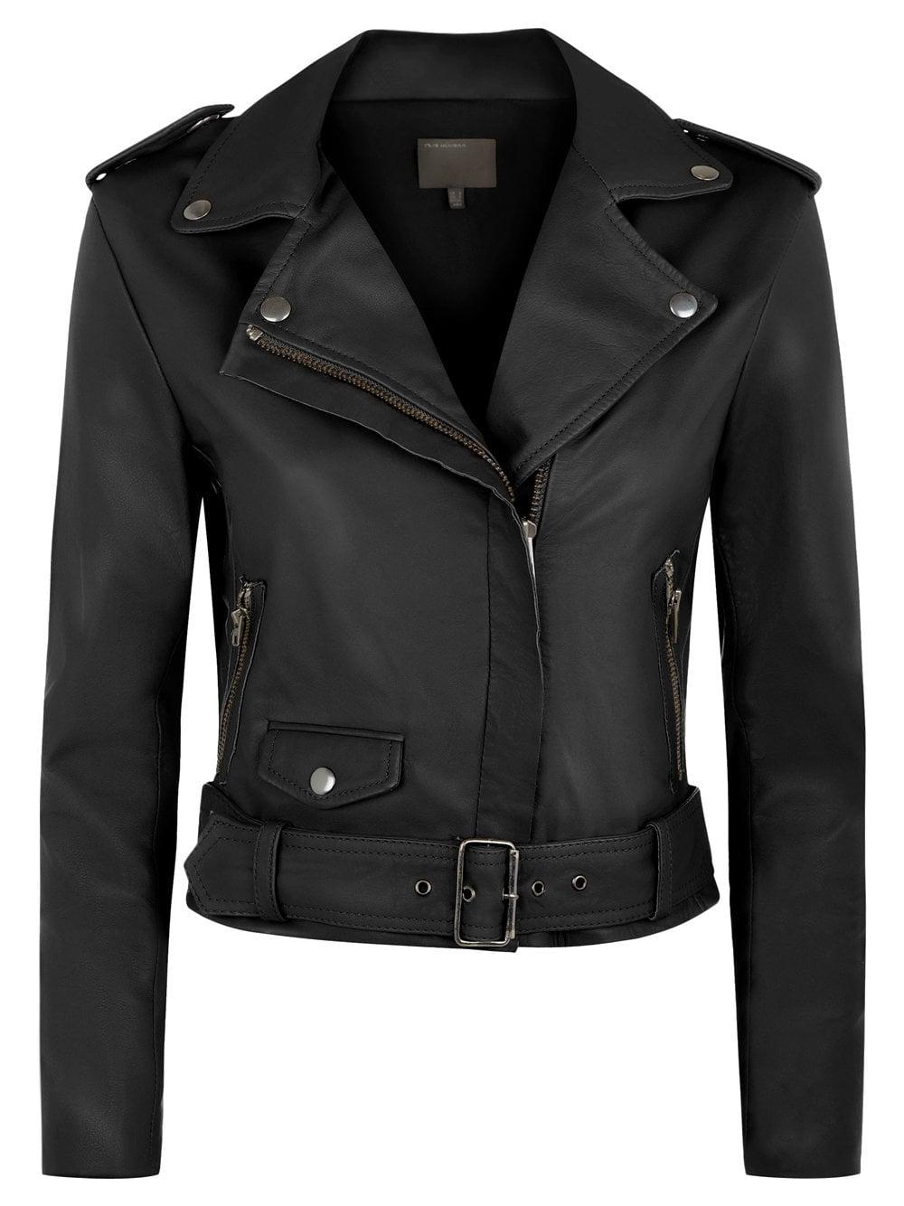 bb3b3c39bfb Reina Black Leather Biker Jacket