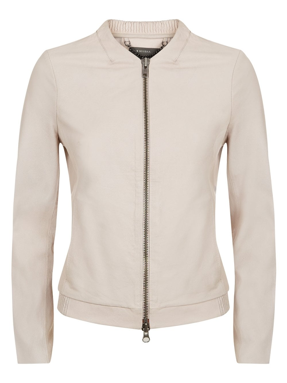 Cream Leather Bomber Jacket