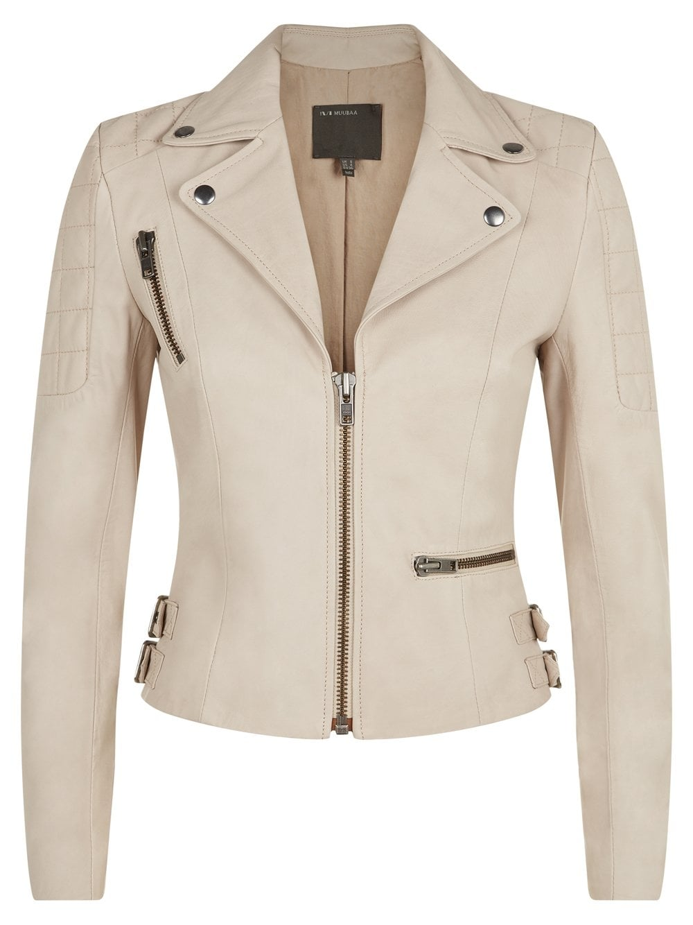 uk availability get online high fashion Rengo Beige Leather Biker Jacket