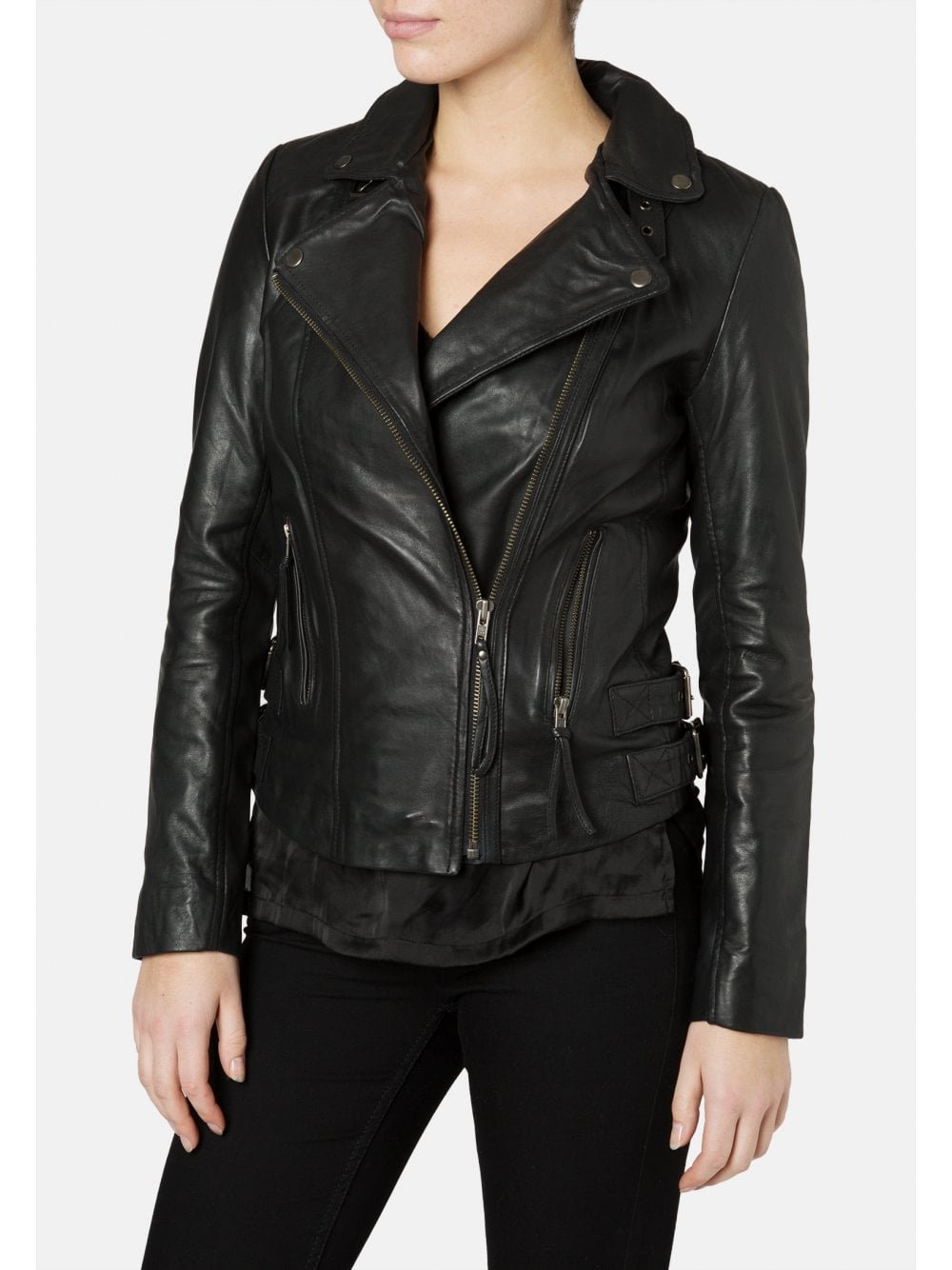 ba22d464a Reval Leather Fitted Biker Jacket in Black