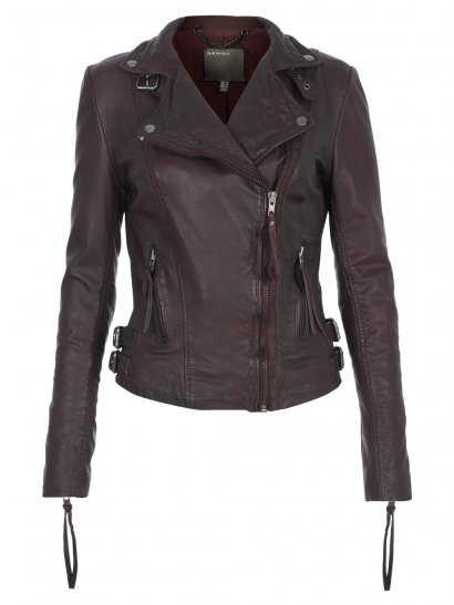 Reval Leather Fitted Biker Jacket in Oxblood