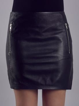 Reynolds Black Leather Mini Skirt