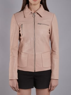 Rhode Blush Bubble Leather Jacket