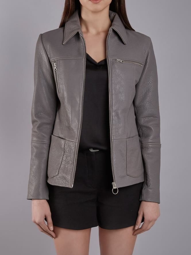 Rhode Grey Bubble Leather Jacket