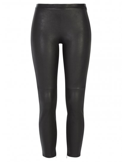 Rica Black Cropped Stretch Leather Trousers