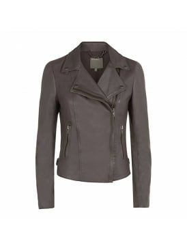 Rosario Grey Leather Biker Jacket