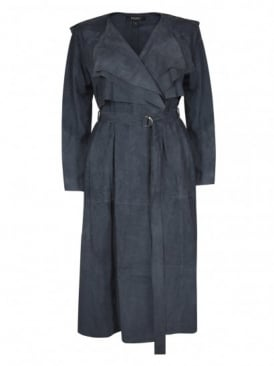 Rutland Blue Suede Collarless Trench Coat