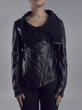 Sabina Black Drape Cardi Leather Jacket