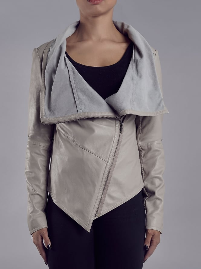 Sabina Drizzle Drape Cardi Leather Jacket