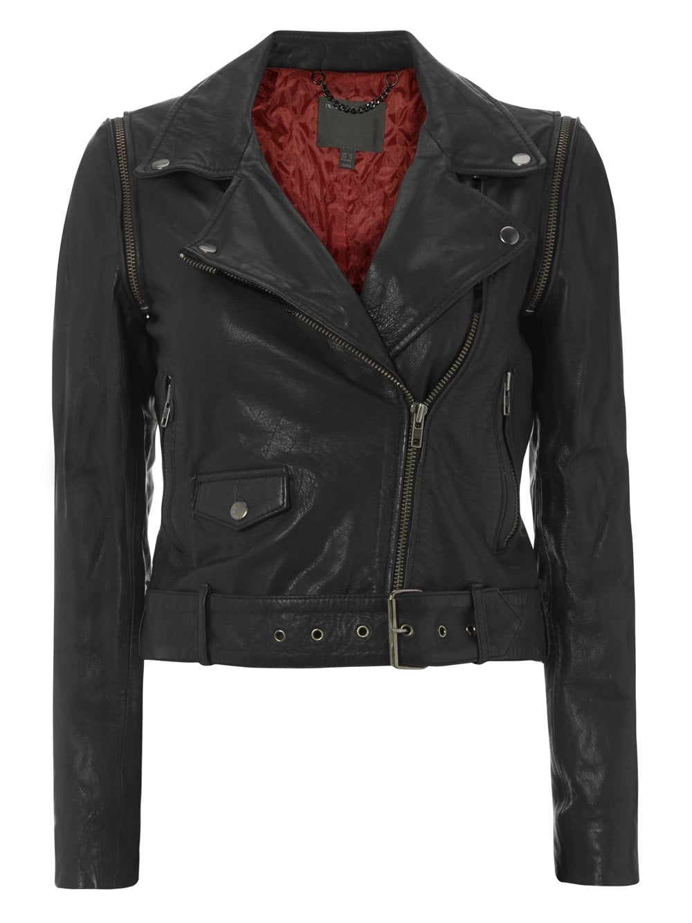Black Cropped Leather Biker