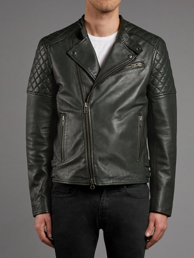 Sceptre Leather Moto Biker Jacket in Army Grey