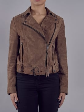 Seaton Taupe Suede Belted Biker Jacket
