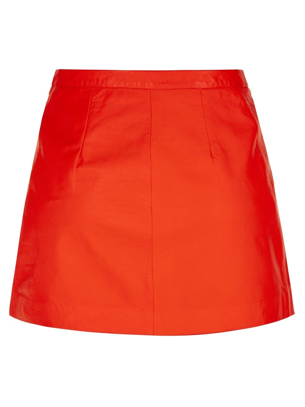 Muubaa Seema Orange Leather Skirt