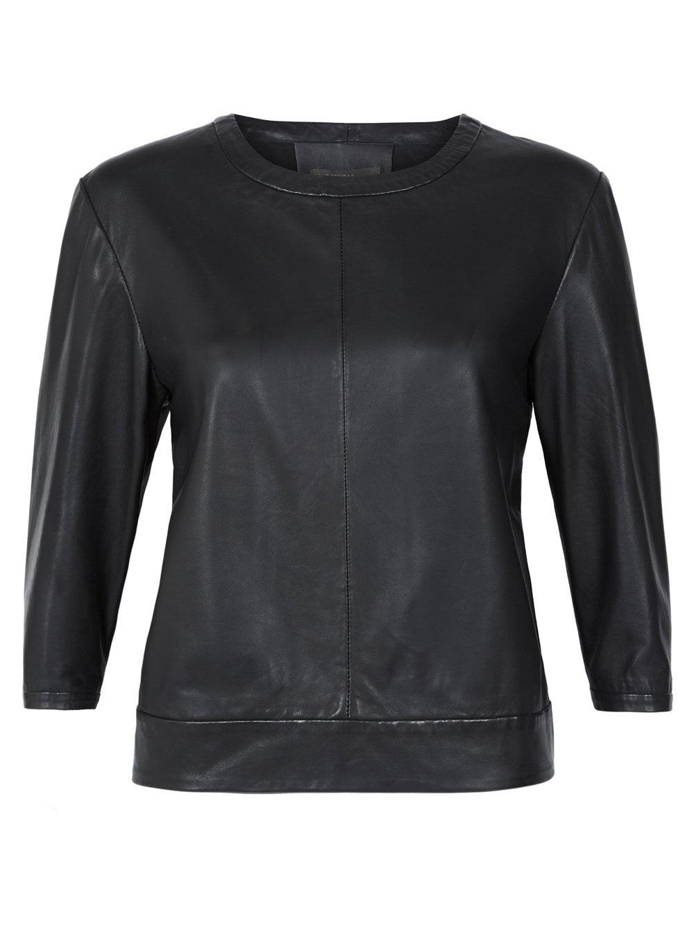 Muubaa Sei Black Leather Jumper