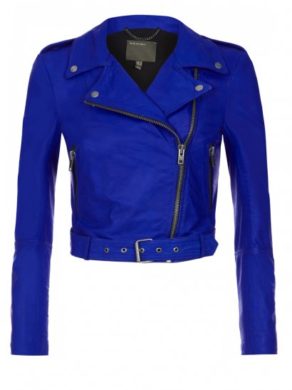 Sembri Blue Leather Biker Jacket