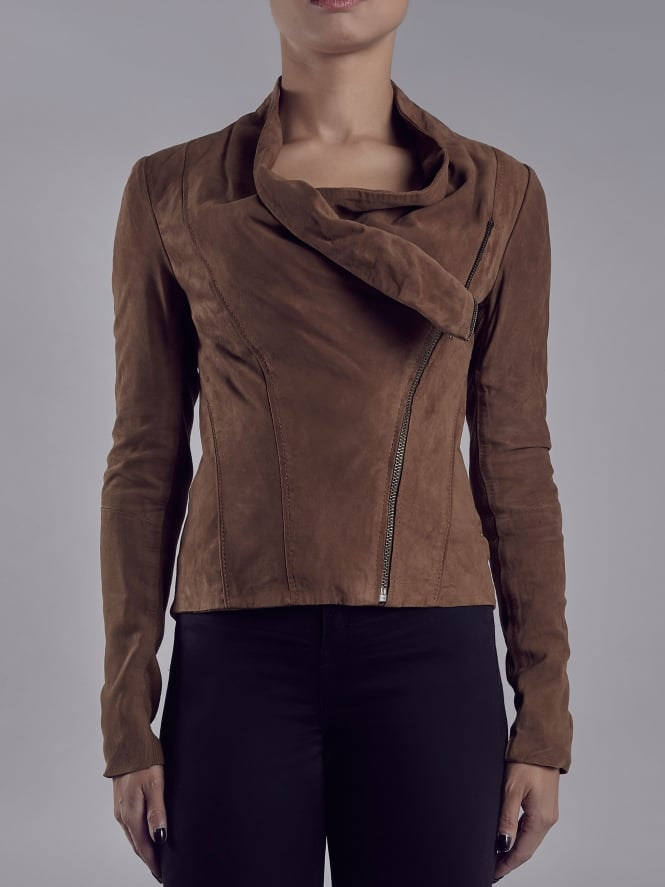 Sensa Brown Suede Drape Jacket