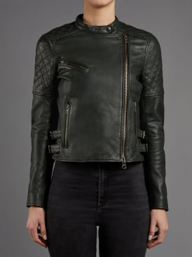 Siata Leather Biker Jacket in Army Grey