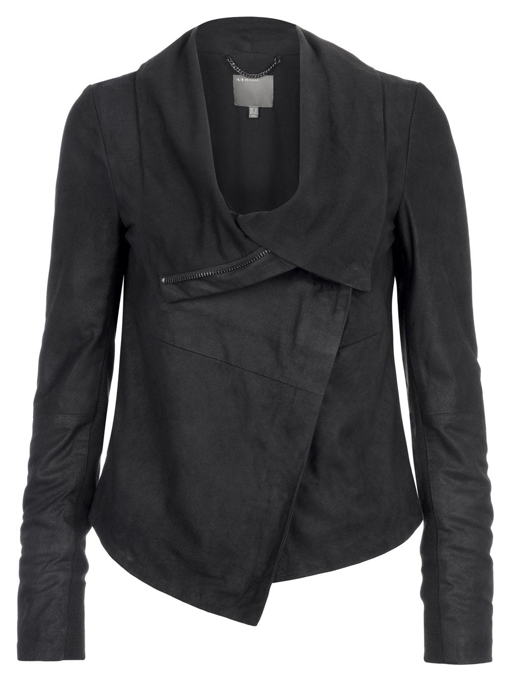 Muubaa Sinoia Black Leather Drape Jacket