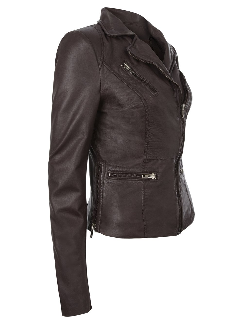 Muubaa Sirius Brown Leather Biker Jacket