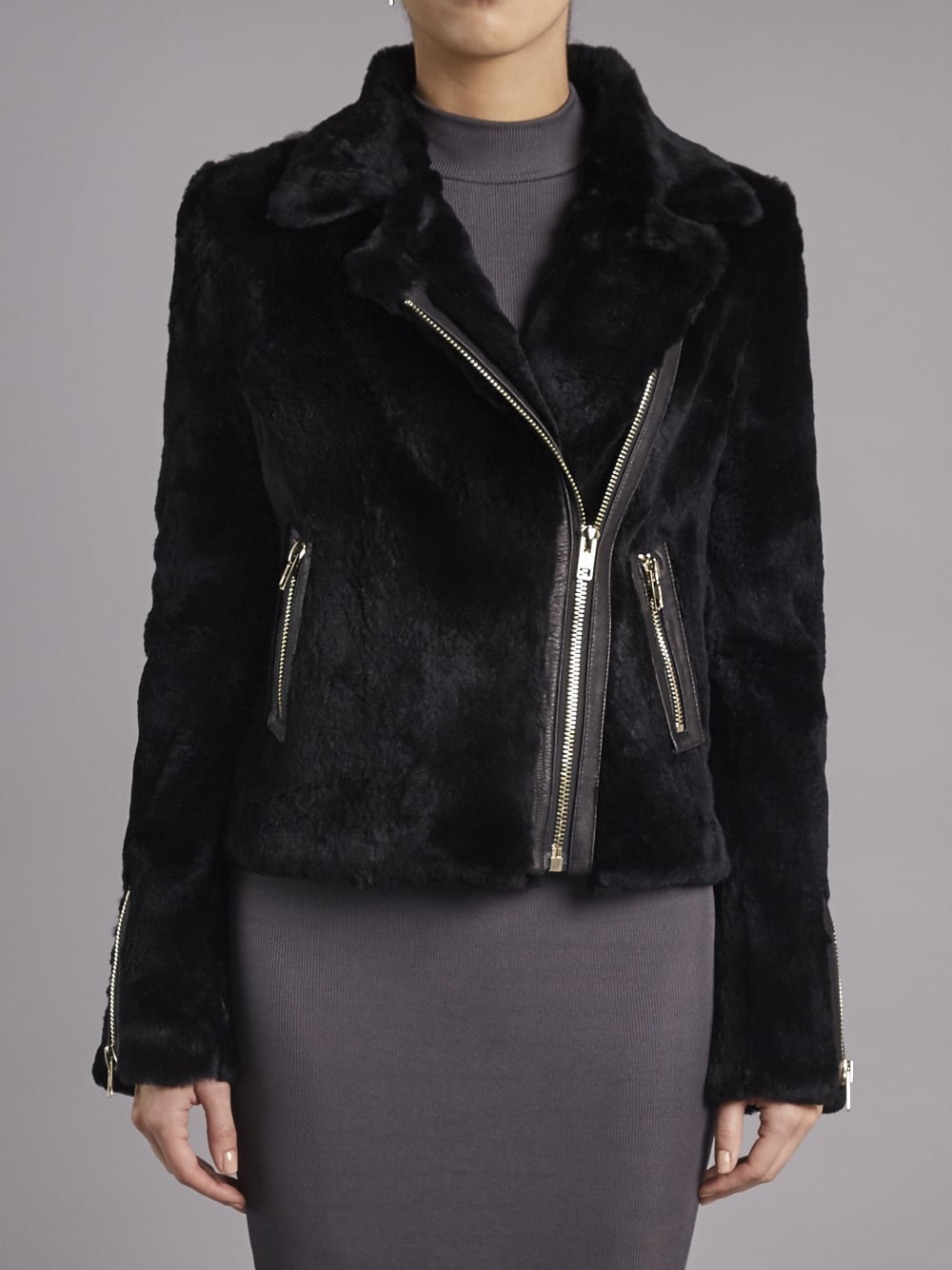 Muubaa Spitfire Black Rabbit Fur Biker Jacket