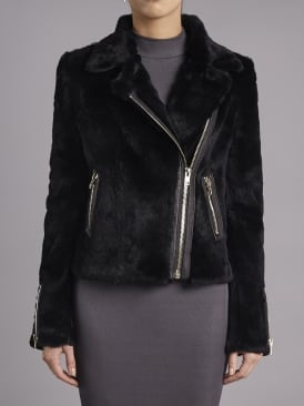 Spitfire Black Rabbit Fur Biker Jacket