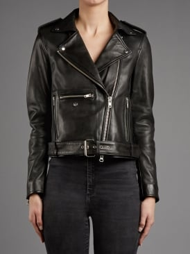 Taimar Black Leather Biker Jacket