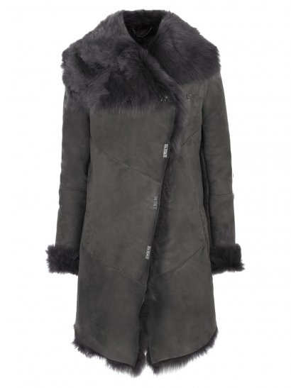 Tomis Shearling Coat in Storm Grey