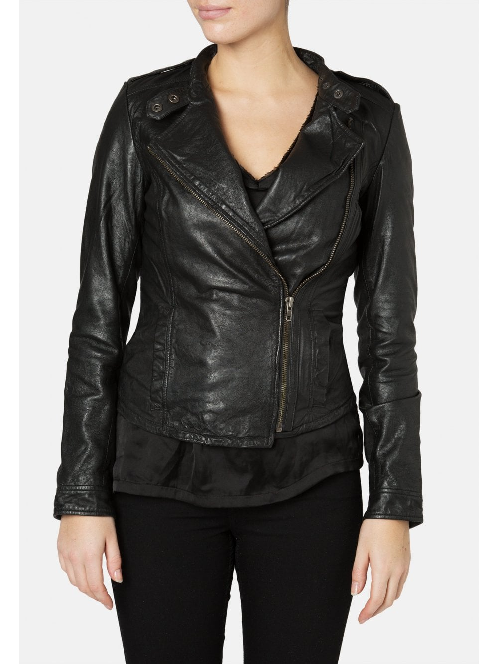 e5197dd89 Tredoux Black Fitted Leather Biker Jacket