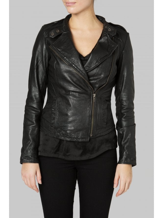 Tredoux Black Fitted Leather Biker Jacket