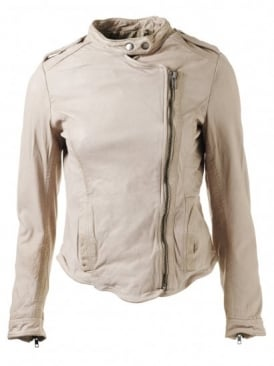 Tredoux Pale Stone Fitted Leather Biker Jacket