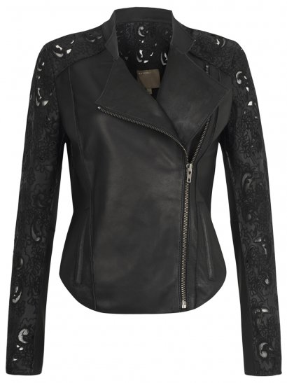 Tureis Leather Laser-Cut Biker Jacket in Black