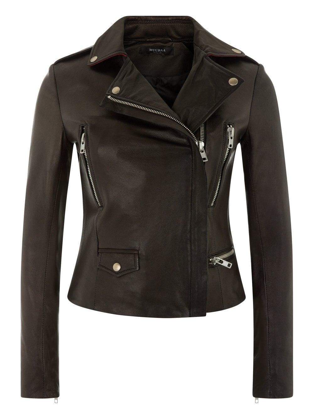7b84dcabe718 Muubaa Vila Black Cropped Leather Biker Jacket