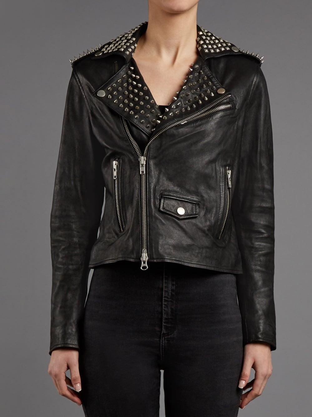 3e813ebf612f Muubaa Voisin Black Leather Studded Biker Jacket