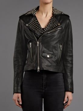 Voisin Black Leather Studded Biker Jacket