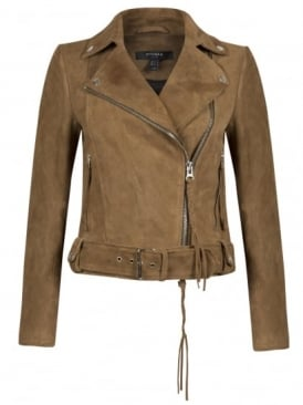 Warren Brown Suede Biker Jacket