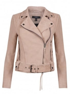 Warren Pink Suede Biker Jacket
