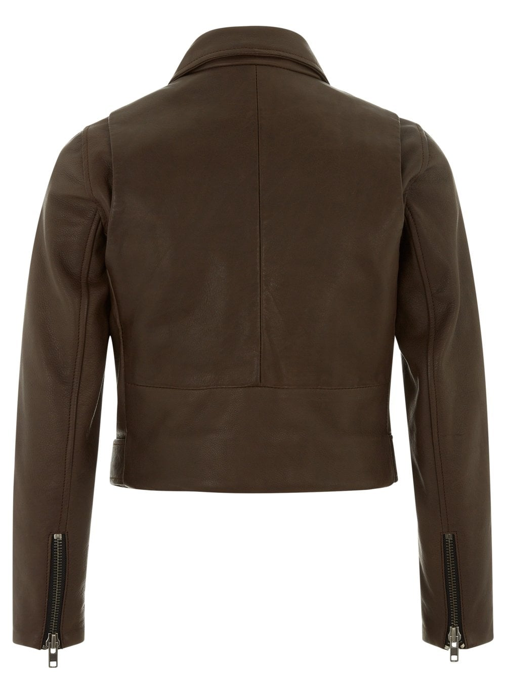 Cropped Brown Leather Biker Jacket