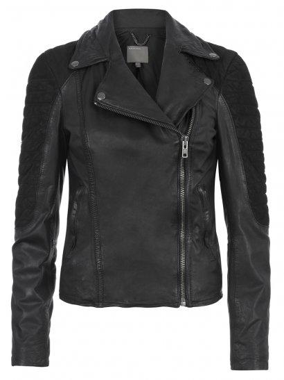 Xera Leather & Suede Biker Jacket in Black