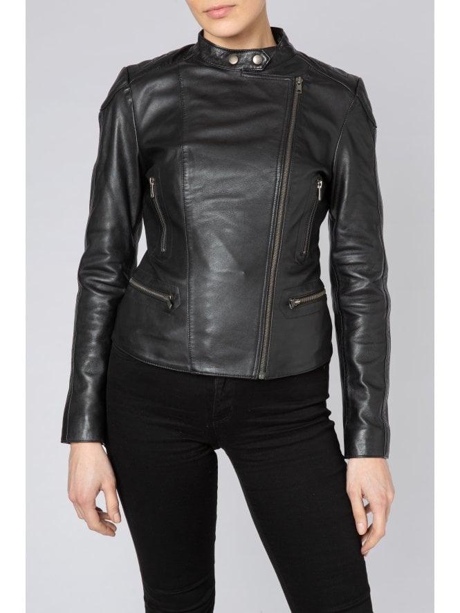 Yarra Black Leather Biker Jacket